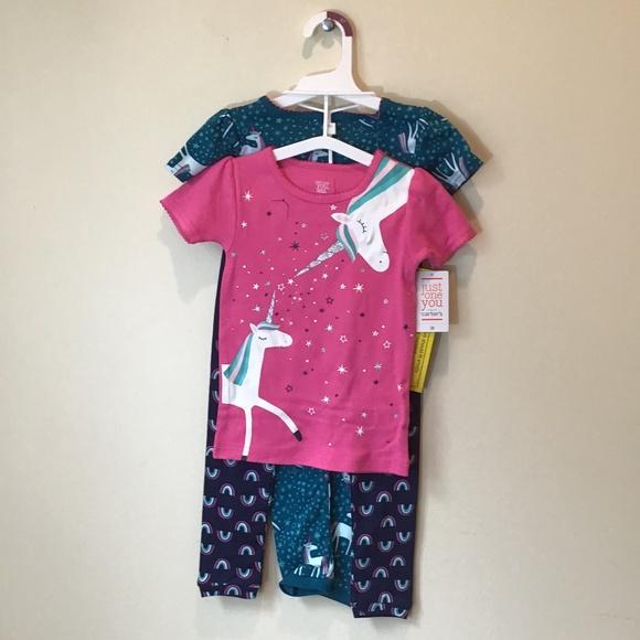 Carter's 4 Pc Unicorn Rainbow Pajama Set Girls 3T